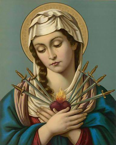 Our Lady of Seven Sorrows Chromolith - Click Image to Close