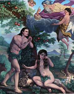 Adam and Eve (Adan Y Eva) Chromolith (version 2)