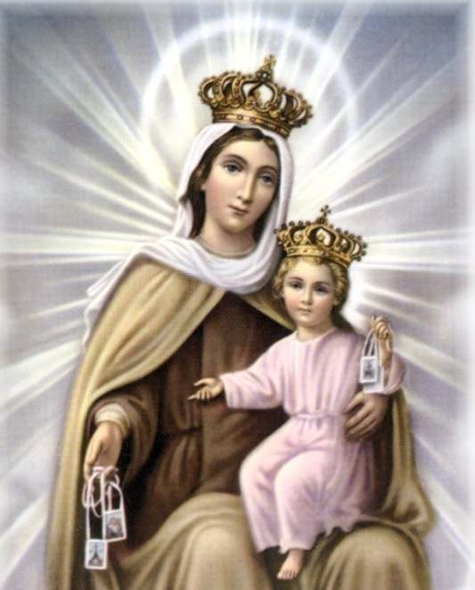 Our Lady of Mount Carmel Chromolith (with Scapulars)