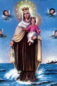 Our Lady of Mount Carmel Chromolith (Sea/Ocean/Marine version)