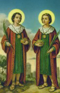 Sts. Cosmas and Damian Chromolith (Mexican)