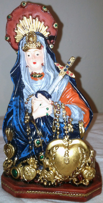 "Our Lady of Sorrows (Mater Dolorosa) 5"" Statue (Blue) - Click Image to Close"
