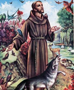 St. Francis of Assisi (San Francisco de Asis) Chromolith (Wolf version)