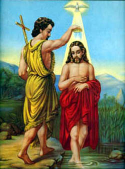 St. John the Baptist (San Juan Baptista) (Baptizing Christ) Chromolith - Click Image to Close