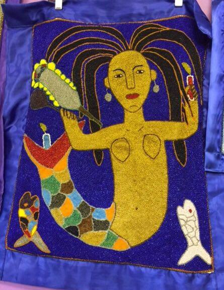 La Sirene (Lasiren) Vodou Flag (Drapo) - 2ft x 2.5ft - blue border