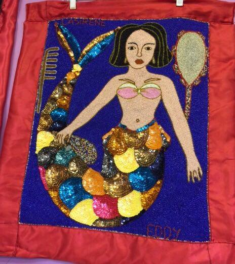 La Sirene (Lasiren) Vodou Flag (Drapo) - 2.5ft x 2ft - red border