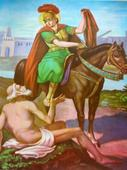 St. Martin of Tours (San Martin Caballero) (Green/Red) Chromolith