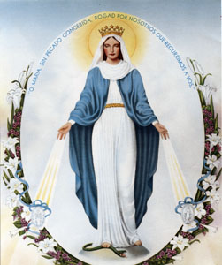 Our Lady of the Miraculous Medal (Milagrosa) Chromolith (with Prayer)