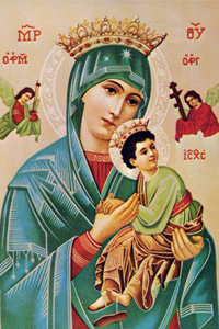 Our Lady of Perpetual Help Chromolith (Byzantine blue) - Click Image to Close