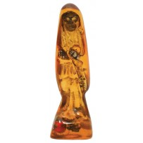 "Santa Muerte (Holy Death) 1.5"" mini statue - clear amber/gold"