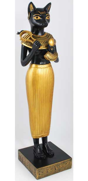 "Traditional Bast (Bastet) with Aegis 12"" Statue"